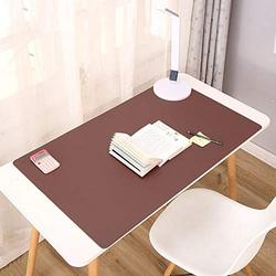 Dual Sided Desk Pad Multifunctional Desk Pad,Leather Desk Pad Protector Mouse Pad Office Desk Mat Non Slip Desk Mat Pu Leather Desk Pad for Gaming Office-Dark Brown and Pink 100x60cm(39x24inch)