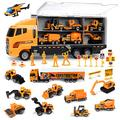 FUNTOK Toddler Boy Toys, 25 in 1 Construction Truck Toys for Boys Age 4-7,Die-cast Construction Cars Toy Set Play Vehicle in Carrier Truck Gifts Cars Toddlers Toys for Children Kids