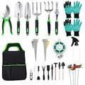 OUGUI Heavy Duty Garden Tool Set with Soft Rubberized Non-Slip Gardening Tools, 21 PCS Gardening Tools Set Succulent Tools Set Stainless Steel Garden kit Tools for Men Women
