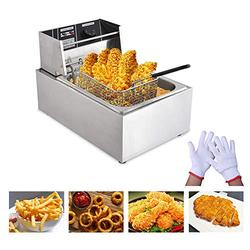 Peitten Electric Commercial Deep Fryer, 8L Deep Fryer with Basket & Lid & Temperature Lir, Upgrade Home Kitchen Restaurant Professional Frying Machine for French Fries & Turkey (Deep Fryers, 8L)