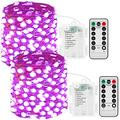JMEXSUSS 150 LED Fairy Lights Battery Operated with Remote, 2 Packs 50ft Super Bright Fairy String Lights Indoor, 8 Modes Purple Copper Wire Twinkle Lights Outdoor Waterproof