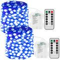 JMEXSUSS 150 LED Fairy Lights Battery Operated with Remote, 2 Packs 50ft Super Bright Fairy String Lights Indoor, 8 Modes Blue Copper Wire Twinkle Lights Outdoor Waterproof