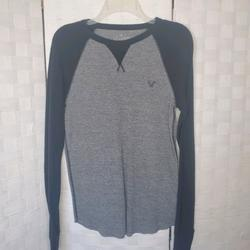 American Eagle Outfitters Shirts | American Eagle Men'S Sz S Thermal Ls Shirt | Color: Black/Gray | Size: S