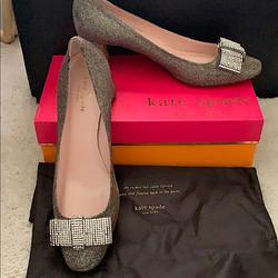 Kate Spade Shoes   Kate Spade Dina Crystal Bow Block Heels   Color: Gray/Silver   Size: 10