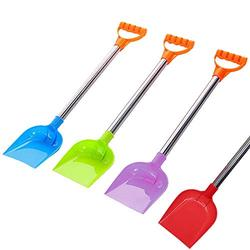Kid Snow Shovel, Beach Diggers Sand Scoop Snow Shovels for Kid,Plastic Spade and Stainless Steel Handle,Childrens Poly Snow Shovel,for Summer Outdoors Party Bundle 18inch (4PC)