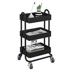 MIOCASA 3-Tier Metal Utility Rolling Cart, Heavy Duty Multifunction Cart with Lockable Casters, Easy to Assemble, Suitable for Office, Bathroom, Kitchen, Garden (Black)