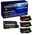 4-Pack (1x Drum+ 3X Toner) Compatible HL-L5100DN MFC-L6800DW Drum Kit and Printer Toner Cartridge (High Capacity) Replacement for Brother DR820 Drum Unit and Brother TN880 Printer Cartridge (Black)