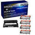 5-Pack (1x Drum+ 4X Toner) Compatible DCP-L2520DW HL-L2315DW Drum Kit and Printer Toner Cartridge (High Capacity) Replacement for Brother DR630 Drum Unit and Brother TN660 Printer Cartridge (Black)