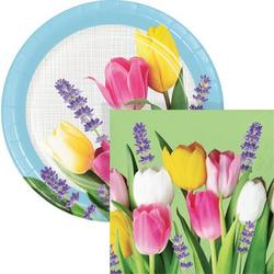 Creative Converting Spring Bouquet Party Supplies Kit for 24 Guests Paper in Pink/White/Yellow | Wayfair DTC6027E2C