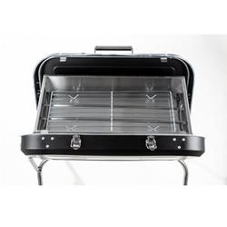 """Opard 23.5"""" Stainless Steel Outdoor BBQ Portable Charcoal Grill Stainless Steel in Black/Gray, Size 26.0 H x 23.5 W x 17.0 D in   Wayfair FI416"""
