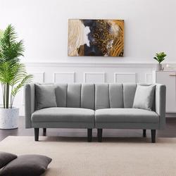 """Corrigan Studio® Planterra 73.62"""" Linen Square Arm Sofa Bed Linen/Linen Blend in Gray, Size 31.5 H x 73.62 W x 32.28 D in   Wayfair"""