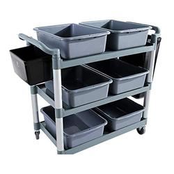 Yadianna Rolling cart- Thick Plastic Hotel Collecting Car Collecting Bowl Car Collecting Car Plate Three-tier Service Cart Stroller Rack Storage beauty service trolley