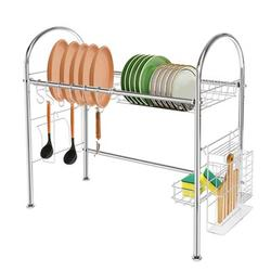 Prep & Savour Malia Stainless Steel Drain Tray Over the Sink Dish Rack Stainless Steel in Gray, Size 4.33 H x 12.6 W x 26.38 D in | Wayfair