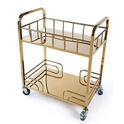 Yadianna Rolling cart - Stainless Steel Titanium Service Car Tea Cart Hotel Dessert Car Trolley Mobile Shelf Storage beauty service trolley