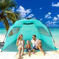 porayhut Easy Up Folding Beach Tent Sun Shade Shelter,3-4 Person for Family,SPF 50+,Large Mesh Roll Up Ventilation Windows,Storage Pockets,Carry Bag and Stakes