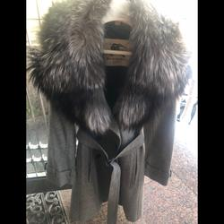 Burberry Jackets & Coats | Burberry Wool Trench Coat With Fox Collar | Color: Gray | Size: 4