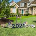 """The Party Aisle™ 2021 Graduation Yard Sign Decorations w/ Selfie Frame Garden Stake in Gold/Black, Size 36""""H X 24""""W X 1""""D 