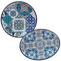 Certified International Mosaic 2 pc Melamine Platter Serving Set, Multicolor