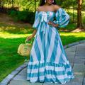Robe longue à rayures pour femmes, manches lanternes, sans bretelles, longueur au sol, tenue de