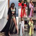 Kimono en mousseline de soie pour femmes, robe de plage longue et Sexy
