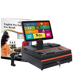 MEETSUN All in One POS System,Cash Register for Retail, Includes Touch Screen Cash Register,58MM Thermal Printer,Cash Drawer,Handhold Scanner,Windows 10pro, POS Software (700-LS002)