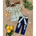 Mia Belle Girls Girls' Denim Pants and Jeans Stripe - White Stripe Lemon Off-Shoulder Top & Patched Jeans - Toddler & Girls