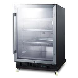 "Summit SCR610BLRI 23 5/8""W Undercounter Refrigerator w/ (1) Section & (1) Glass Door - Stainless Steel, 115v"