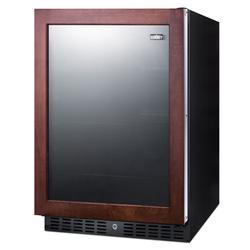 "Summit AL57GPNR 24""W Undercounter Refrigerator w/ (1) Section & (1) Glass Door - Black, 115v"