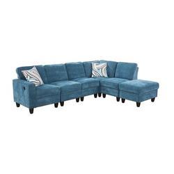 """Latitude Run® Joelaine 104"""" Wide Velvet Corner Sectional w/ Ottoman Upholstery/Velvet in Blue, Size 35.0 H x 104.0 W x 31.0 D in   Wayfair"""