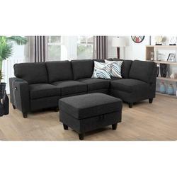 """Latitude Run® Joelaine 104"""" Wide Velvet Corner Sectional w/ Ottoman Upholstery/Velvet in Gray/Black, Size 35.0 H x 104.0 W x 31.0 D in   Wayfair"""