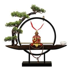 """Artificial Plants Fake Bonsai Tree 18.9"""" Bonsai Tree Lights LED for Indoor Use Tabletop Tree Light Faux Bonsai Tree Faux Potted Houseplant and Monkey King Sculpture for Home Decor House Plant"""