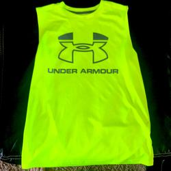 Under Armour Shirts & Tops   Boys Youth Under Armour Sleeveless Shirt Nwot   Color: Gray/Green   Size: Boys Youth Large Size 14-16