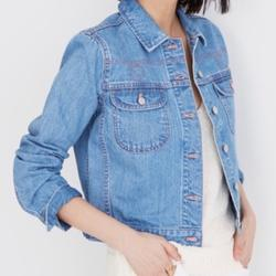 Madewell Jackets & Coats | Nwt Madewell Denim Cropped Classic Jean Jacket Xs | Color: Blue/Pink | Size: Xs