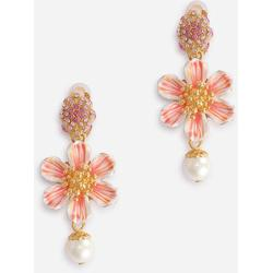 Clip-on Earrings With Hand-painted Flower And Rhinestones - Pink - Dolce & Gabbana Earrings