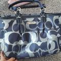 Coach Bags | Coach Navy Blue And Silver Coach Shoulder Bag | Color: Blue/Silver | Size: Os