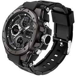 Watches for Men Military Watch Men Tactical Watch Multifunctional Electronic Digital Watch Outdoor Army Sports Stopwatch Waterproof Black