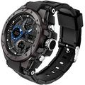 Watches for Men Military Watch Men Tactical Dual Watch Electronic Digital Watch Outdoor Sports Men's Watches Chronograph Waterproof Black Wrist Watch