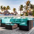 Latitude Run® Jolante Garden 7 Piece Rattan Sectional Seating Group w/ Cushions Wicker/Rattan in Blue, Size 26.0 H x 26.5 W x 26.5 D in | Wayfair