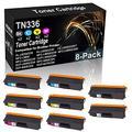 8-Pack (2BK+2C+2Y+2M) Compatible High Yield MFC-L8850 L8850CDW L8600CDW Laser Printer Cartridge Replacement for Brother TN-336 (TN-336BK TN-336C TN-336Y TN-336M) Toner Cartridge