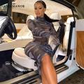 ANJAMANOR – robe en maille transparente pour femmes, imprimé géométrique, avec gants, Sexy, boîte de