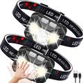 Headlamp Rechargeable 2 Packs,Ultra-Light Bright LED Headlamp, Headlight Flashlight with White Red Lights, USB Rechargeable Waterproof Head Lamp for Outdoor Camping Cycling Running Fishing