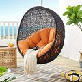 Modway EEI-3636-BLK-ORA Encase Swing Outdoor Patio Lounge Chair Without Stand, Black Orange
