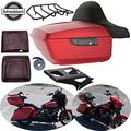 Moto Onfire Tour Pack, Wicked Red Denim, Black Mounting Rack For Harley Touring Road Glide, Street Glide, Road Glide Special, 2019 (King Tour Pack, Liners, Luggage Rack & Mount Rack)