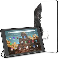 Kindle Case Pu Leather Smart Cover Dog Breeds Border Collie Stands Paws Case for Kindle Fire Hd 10 Kindle Fire Hd 10 Inch Tablet Case(9th Gen 2019/7th Gen 2017) with Auto Wake/Sleep