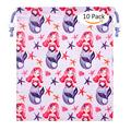 YOROYAL 10 Pack Mermaid Drawstring Bags for Kids Girls Boys Party Supplies, Drawstring Backpack Pouch for Birthday Party Gifts Favors (purple)