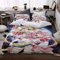 Dgdgd Sailor Moon Tsukino Usagi and Chibiusa Anime 3 Piece Comforter Set 3D Printing Bedding Soft Polyester Gifts for Anime Fans Room (1 Quilt Cover + 2 Pillowcase) (US-Full: 203x228cm)