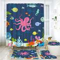 KGSPK Shower Curtain Sets Non-Slip Rug,Toilet Lid Cover and Bath Mat,Kids Octopus Cartoon Underwater Sea Animal Fish Deep Ocean Sea Turtle Shrimp Blue,Bathroom Decor Curtains 12 Hooks Included