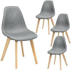 George Oliver Fils Linen Side Chair in Grey Upholstered/Fabric in Brown/Gray, Size 33.0 H x 20.0 W x 18.5 D in | Wayfair