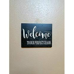 DKISEE Welcome to Our Perfect Chaos, Welcome Sign, Entryway Sign, Kitchen Sign, Farmhouse Wood Sign, 18x24 Inch Decorative Rectangle Wooden Sign Plaque Board