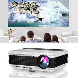 Home Video Projector 5000 Lumen Multimedia LED LCD Digital Home Cinema Gaming Movie Projectors HDMI USB VGA AV Audio Out Zoom Ceiling 1080P Support Smartphone TV DVD PC Laptop Indoor Outdoor Proyector